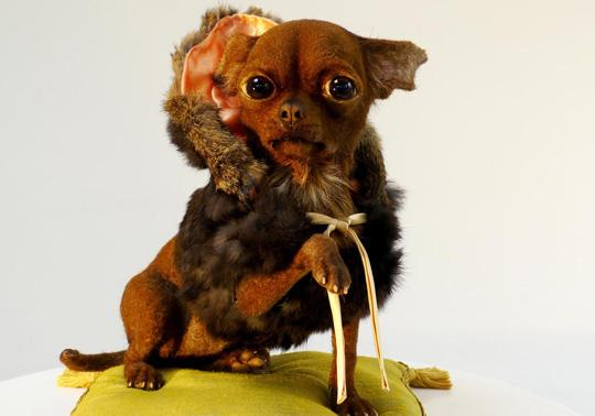 dog realistic sculpture rabbit's fur roadkill