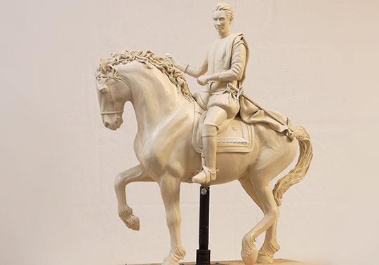 waterlinie museum, historische personage prins Maurits te paard, sculptuur, beeld, model