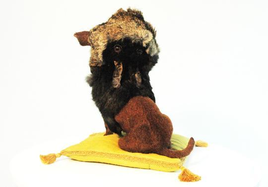 dog realistic sculpture rabbit's fur roadkill