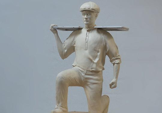 scale model character worker clay sculpture museam
